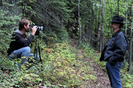 "Director Steve Elkins (left) and John Luther Adams (right) photographed in Alaska by David G. Marks in 2009, during production of ""The Reach Of Resonance."""